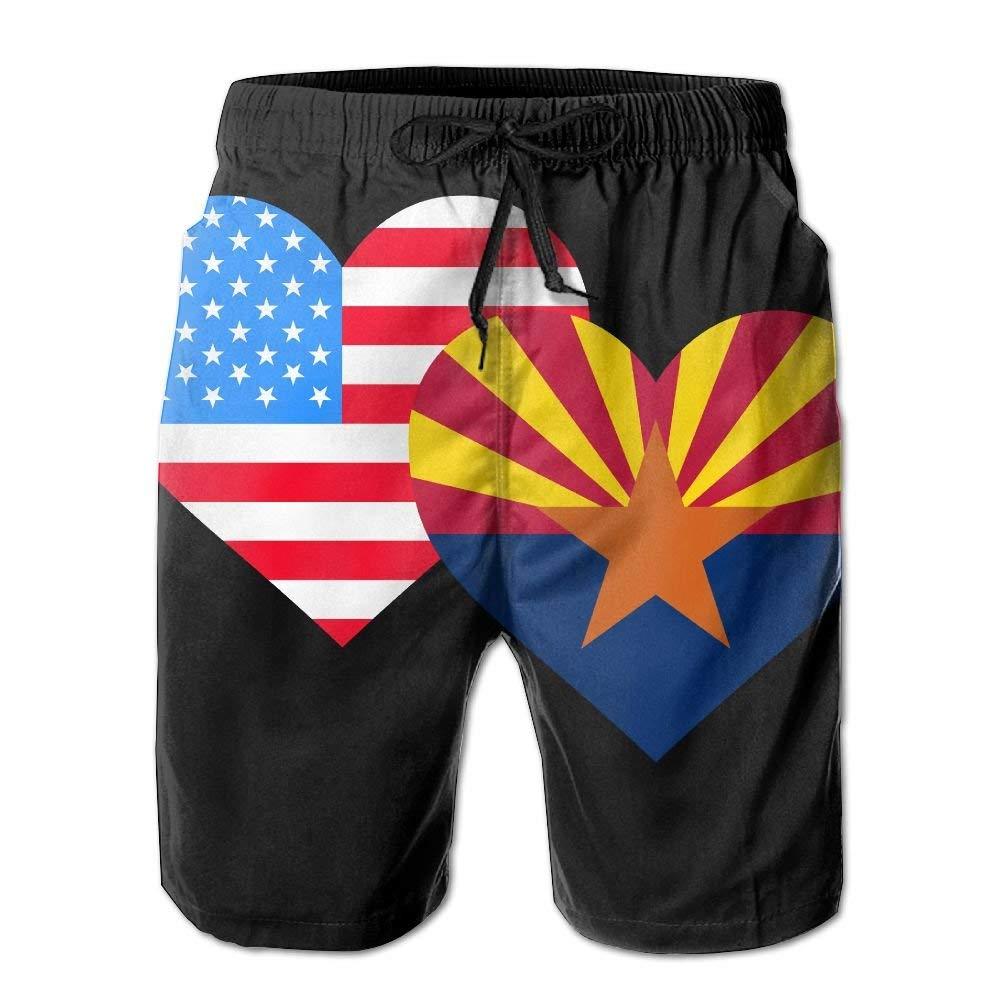 American Arizona Heart Flag Mens Printing Board//Beach Shorts Sports Runnning Bathing Suit with Pockets