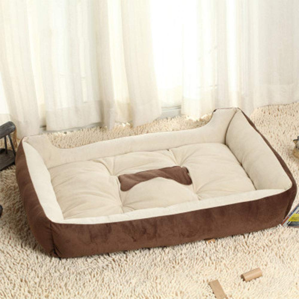 Brown 45CMFour Seasons Universal Dog Bed, Square Washable Pet Supplies Small Cat Dog House Super Soft Cotton Mats Sofa Dog Basket,Black,70CM