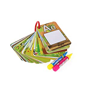 Coolplay A-Z 26 Alphabet Water Painting Cards,Children Drawing Board Children Colouring Card for Kids Educational Toys