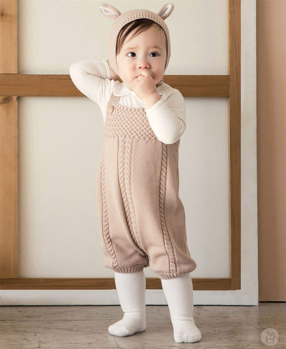 B07H7C2YZP Auro Mesa Infant Baby Knit Romper Overalls Cute Infant Clothing, Baby Onesies Unisex,Baby One-Pieces Jumpsuit Outfit Clothes (18-24M) Brown 61DliALJY4L