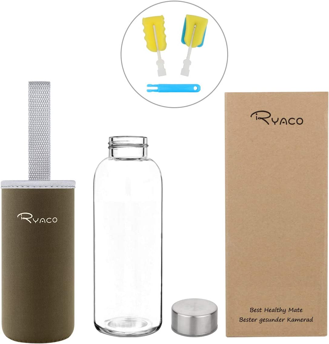 PVC Ryaco 800ml Bouteille en Verre Borosilicate avec Anti-/échaudage Manche en N/éopr/ène et Fond /Épaissi Respectueux de lenvironnement /& sans BPA