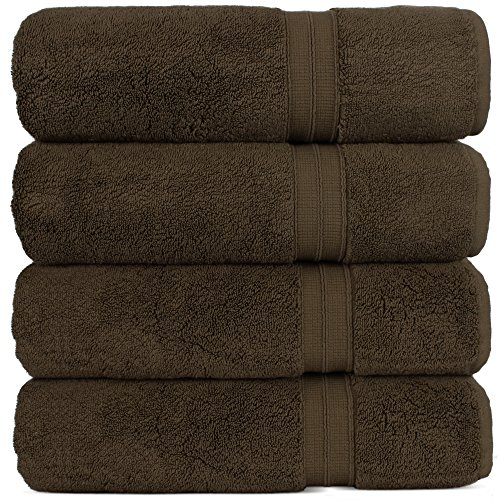 Luxury Premium Turkish Cotton 4-Piece Bath Towels, Long-Stable 20/2, 2 Ply Turkish Ring-Spun Cotton Yarn Makes The Luxe-Factor, Eco-Friendly, (Cocoa)