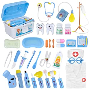 Funplus Doctor Kit for Kids - 35Pcs Doctor Costume Dentist Toy Medical Kit with Light & Sound Including Electronic Stethoscope, Blood Pressure Cuff & Lab Coat in Sturdy Case for Toddlers Xmas Gift