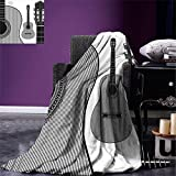 smallbeefly Guitar Digital Printing Blanket Monochrome Design Striped Acoustic Classical Instruments Folk Country Music Concert Summer Quilt Comforter Black White