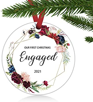 First Christmas Married Ornament 2021 Amazon Com Zunon First Christmas Engaged Ornaments 2021 Our First Christmas As Mr Mrs Couple Married Wedding Decoration 3 Ornament Our First Christamas Engaged Kitchen Dining