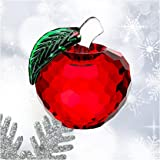 H&D Crystal Red Apple Paperweight 40mm Art Glass Apple Collectible Figurines Best for Christmas Eve Gifts