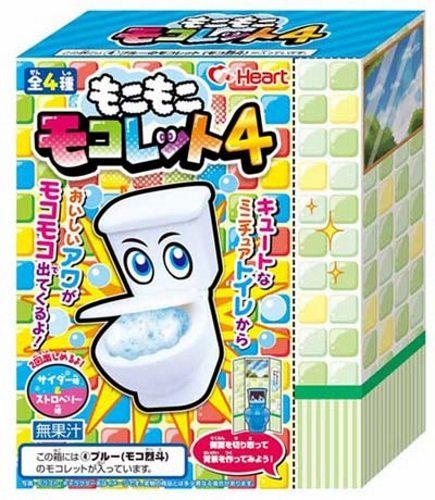 Japanese Candy ''In A Toilet'' New Version 4 soda pop & strawberry Flavor Candy Powder Drink Toy Toilet 1 pack by Heart