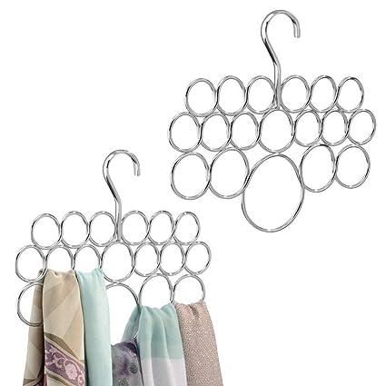 mDesign Set de 2 perchas para pañuelos – Juego de dos colgadores de pañuelos, chales, bufandas y complementos – Cada organizador de armarios tiene 18 ...