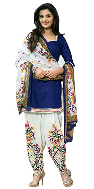 7121ee5505 Lady Loop Women's Cotton Salwar Suit (I480SECND19_TS_1_Blue_Free Size):  Amazon.in: Clothing & Accessories