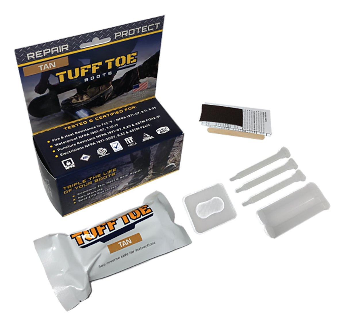 Tan- Tuff Toe Boot Guard Protection & Repair for Steel & Composite Safety Toe Boot Heel Guard & Work Shoe Repair