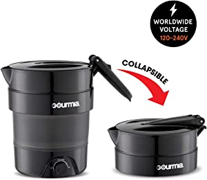 Gourmia GK378 Dual Voltage Electric Collapsible Travel Kettle - Foldable & Portable - Fast Boil - Water Boiler For Coffee, Tea & More - Keep Warm Function - 1.5 Qt Capacity