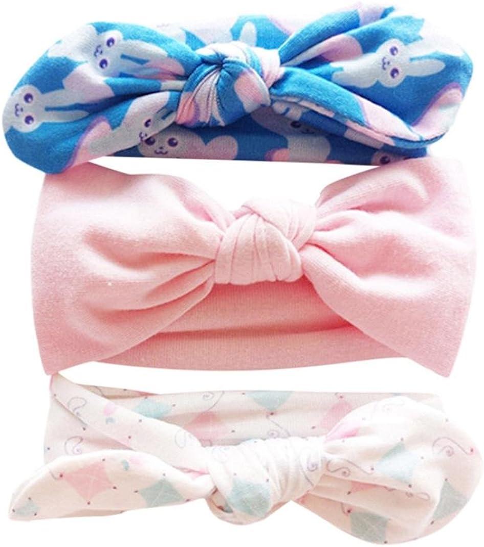 Huhu833 3 St/ück Baby Stirnb/änder Kinder Blumenstirnband M/ädchen Baby Elastische Bowknot Zubeh/ör Haarband Set
