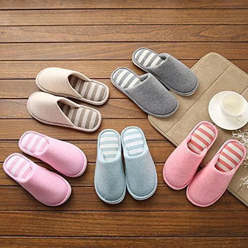 Stripe 10 Cotton for HUAIDE Travel Spa House Unisex Slippers Bedroom Hotel 6Ew55xvqR