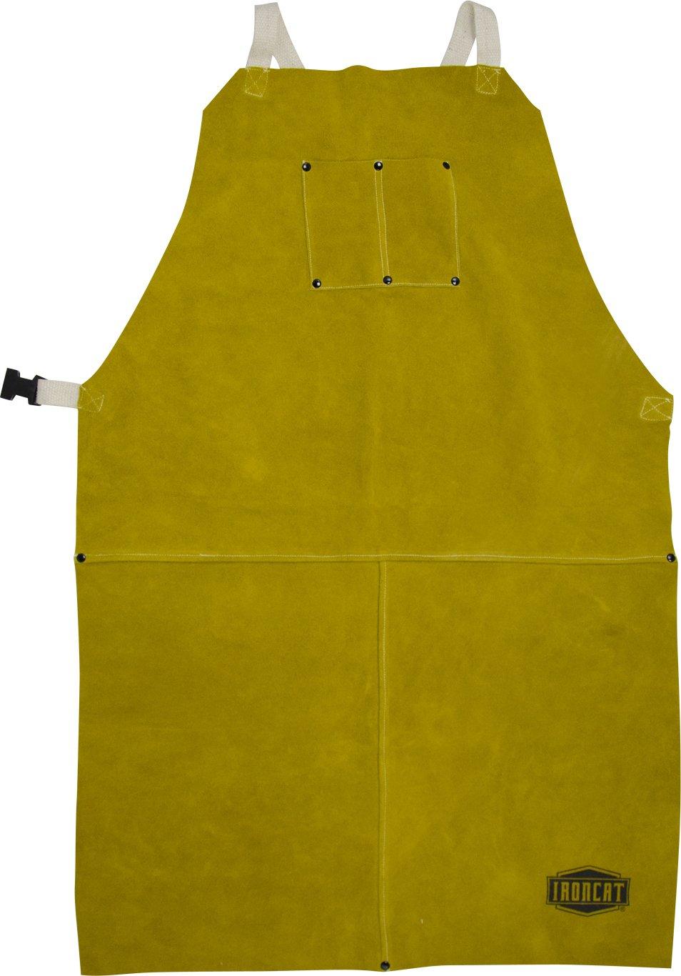 West Chester IRONCAT 7010 Heat Resistant Split Cowhide Leather Welding Bib Apron, 24'' W x 42'' L
