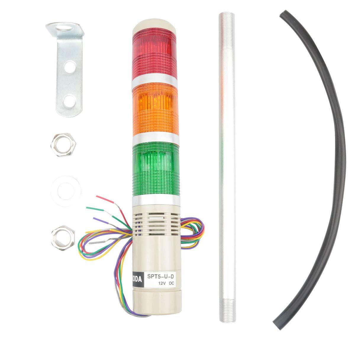 Nxtop Industrial Lamp Post LED Alarm Circular Tower Lamp Indicator Continuous Light Light Warning Lamp Buzzer Red Green Yellow DC 12V