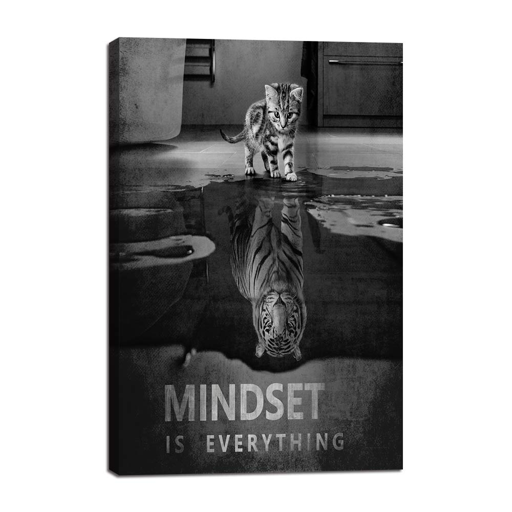 "Mindset is Everything Motivational Canvas Wall Art Inspirational Entrepreneur Quotes Poster Print Artwork Painting Picture for Living Room Bedroom Office Home Decor Framed Ready to Hang (12""Wx18""H)"