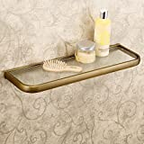Leyden Retro Bathroom Accessories Solid Brass Antique Brass Finished Glass Bathroom Shelf Towel Holder Towel Bars Towel Rack Wall maounted