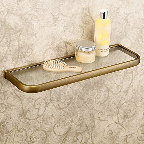 Bronze Antique Glass Shelf - Leyden Retro Bathroom Accessories Solid Brass Antique Brass Finished Glass Bathroom Shelf Towel Holder Towel Bars Towel Rack Wall maounted