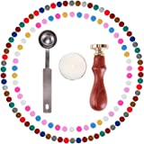 Eachbid 120 Pieces Hexagon Shape Sealing Wax Beads with Candle Melting Spoon and Seal Stamp