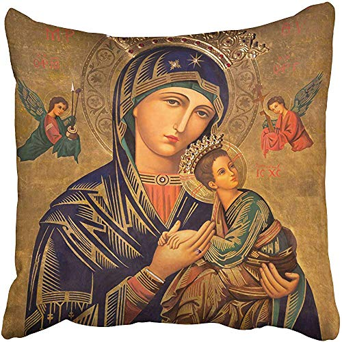 Throw Pillow Covers Cases Decorative 18x18 inch Zaragoza Spain March The Painting in Church Iglesia Del Perpetuo Socorro Pater Two Sides Print Pillowcase Case Cushion Cover