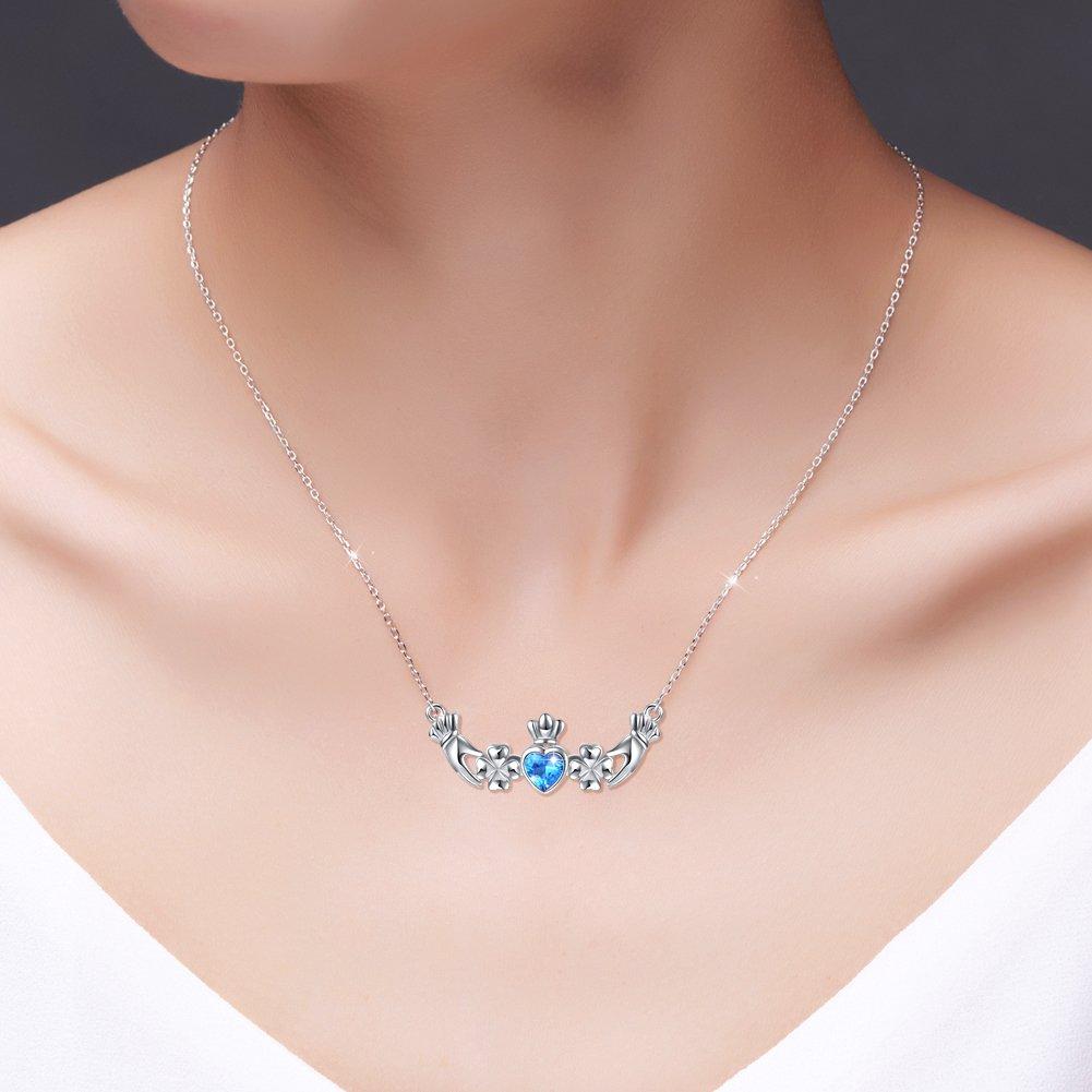 Amazon.com: Birthday Gift 925 Sterling Silver Blue Cz Heart Irish ...