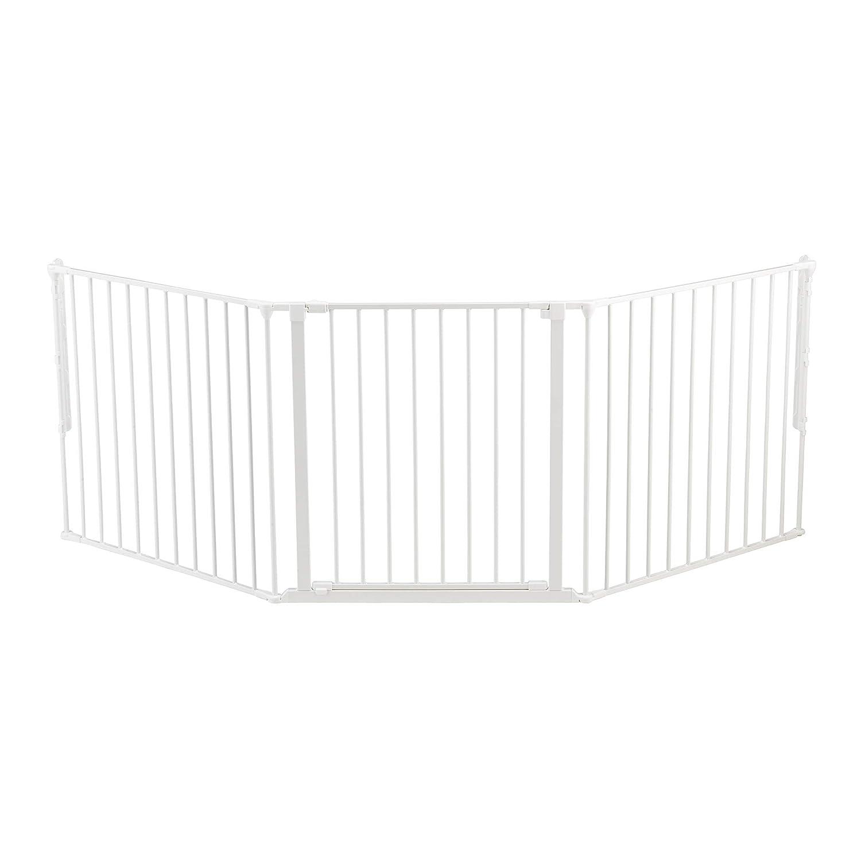 BabyDan Flex 35.4-87.8 Large Size Adjustable Metal Safety Baby Gate & Room Divider Fence for Children & Pets, White