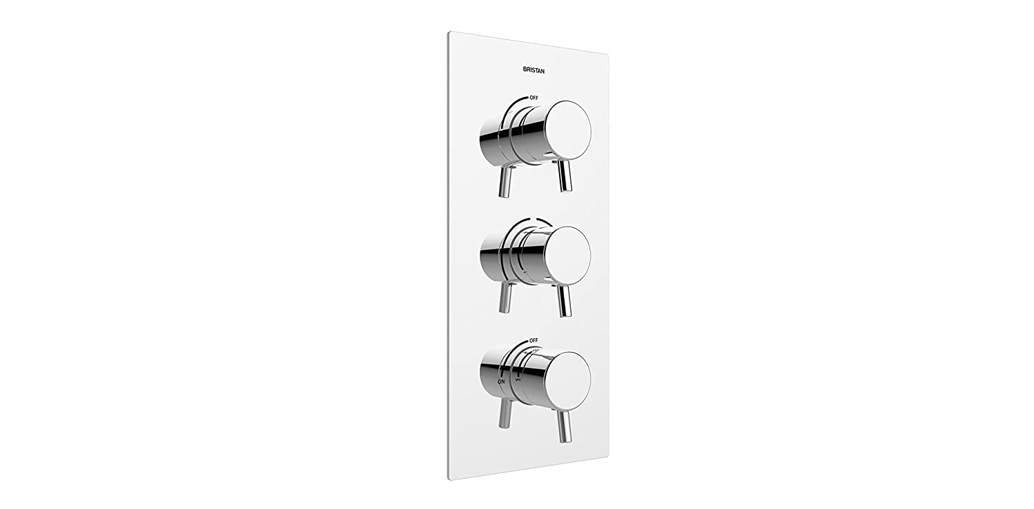 Bristan PM2 SHC3STP C Prism Recessed Thermostatic Dual Control Shower Valve with Two Integral Stopcocks Three Outlet Chrome