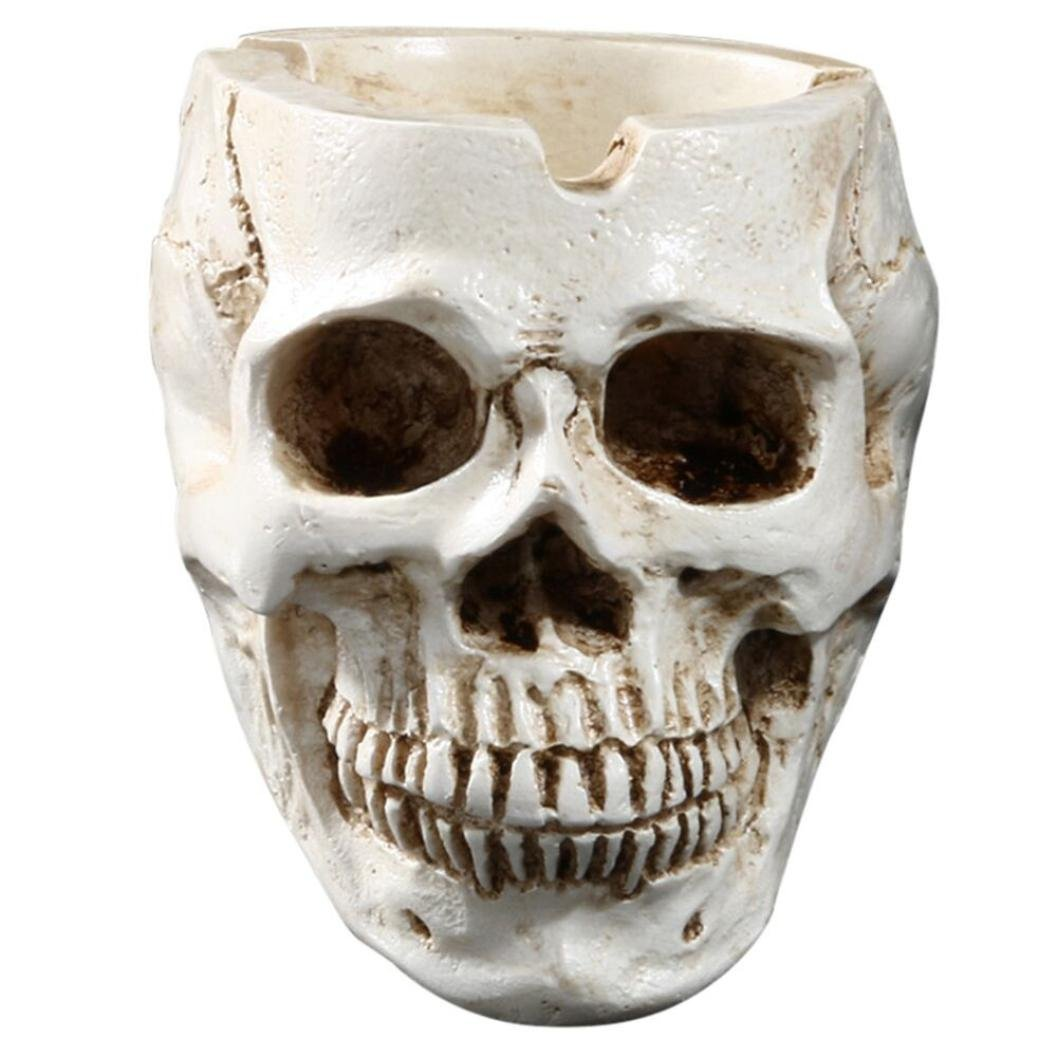 Bowake Clearance Sale! Skeleton Head Style Ashtray Resin Simulation Head Model Halloween (White)