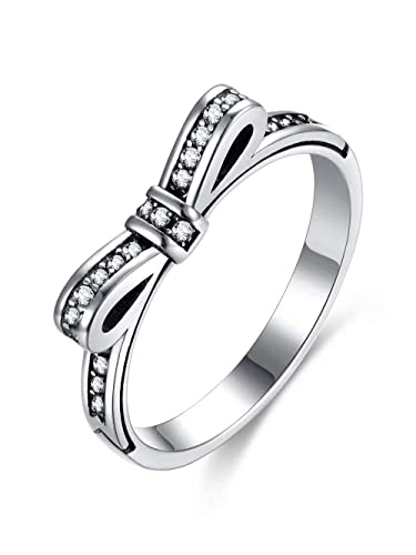 4e52b91ef Presentski 925 Sterling Silver Bow Anniversary Promise Wedding Cubic  Zirconia Engagement Rings for Women