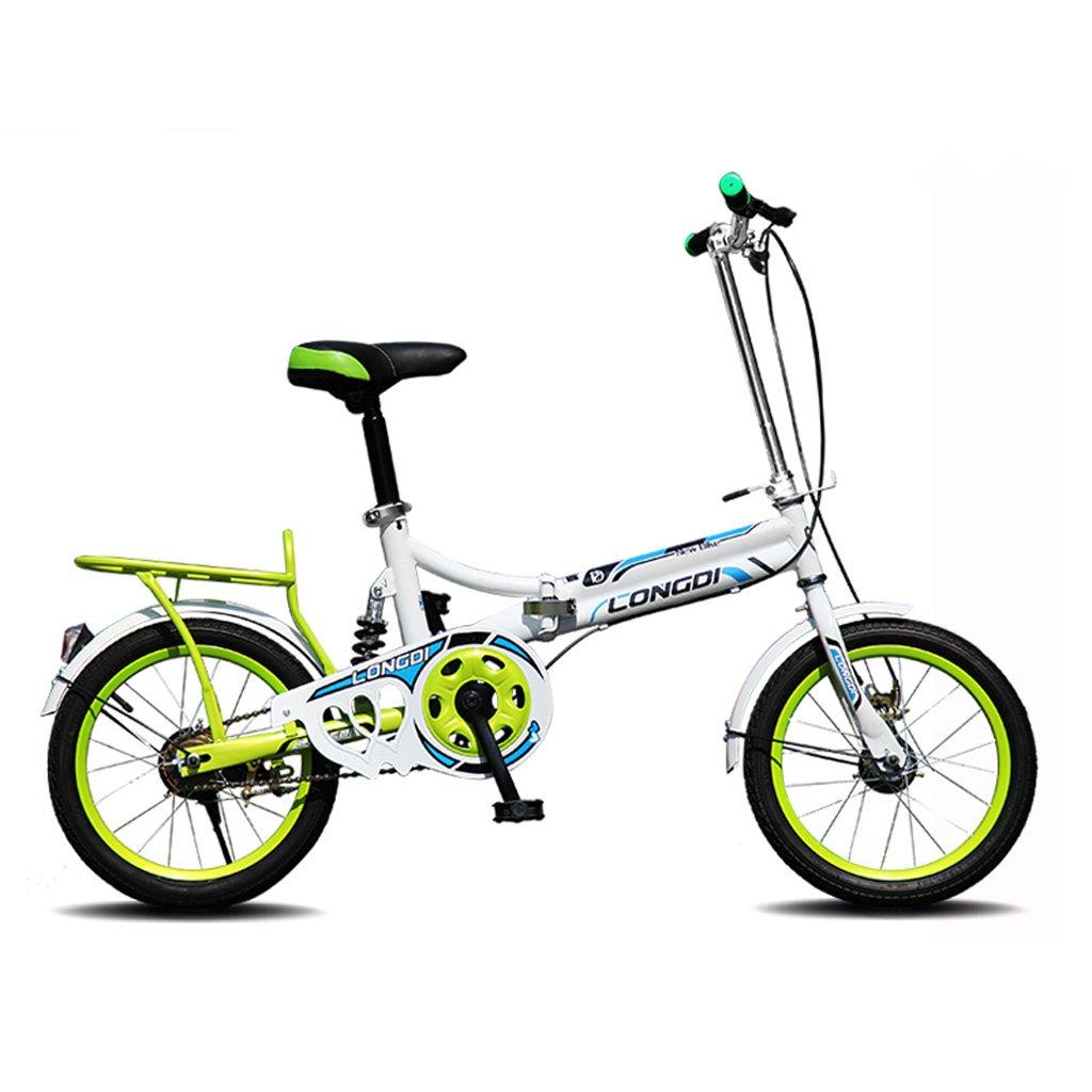 子供用自転車16インチ自転車高炭素スチール折りたたみ自転車4-7歳のベビーカー、白青/黒と白赤/ピンク/白緑 (Color : White and green) B07CZBNVJ5