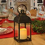 WRalwaysLX Decorative Lantern with flameless LED Candle Light, ON/Off/Timer Candle with 6Hours, Outdoor/Indoor LED Lantern, U