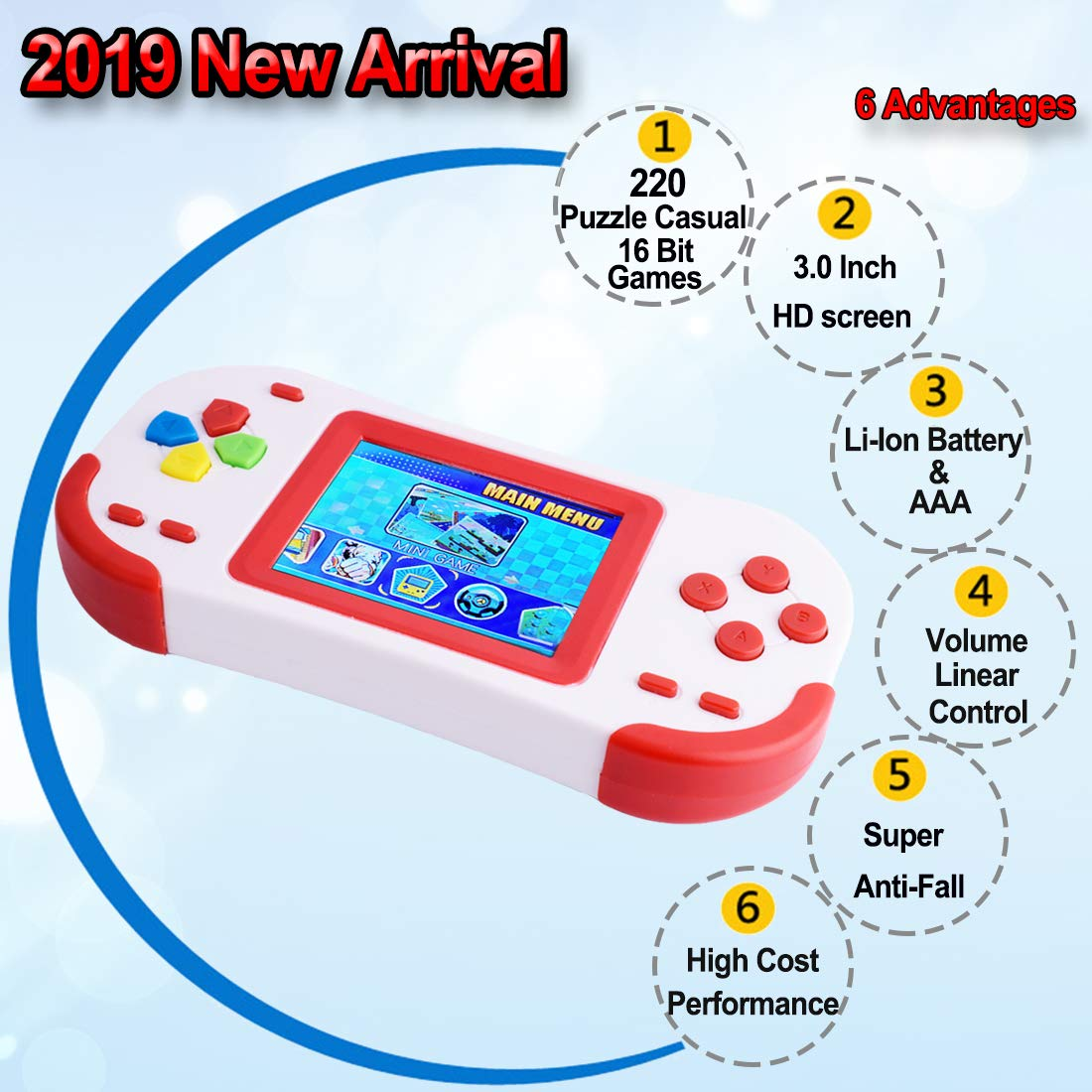 TEBIYOU Handheld Game Console for Adults Kids Seniors with Built in 16 Bit 220 HD Classic Games 3.0'' Large Screen Portable Retro Game Player Children Electronic Handheld Games (Red) by TEBIYOU (Image #2)