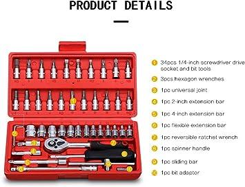 12Pcs//set 1//4inch Socket Set Ratchet Wrench Extension Rod Combo Tools Kit Durabl