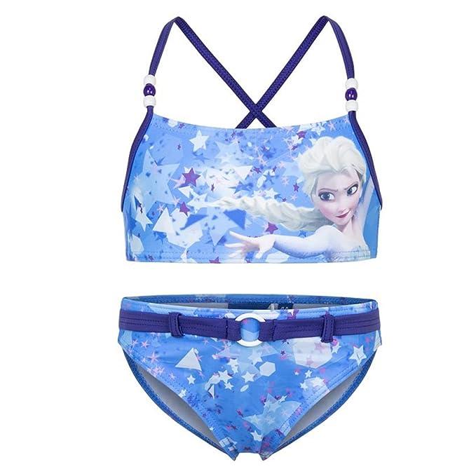 12952bc8736d Disney Frozen - Costume 2 Pezzi Bikini con Cinta e Perline Full Print Mare  Piscina -