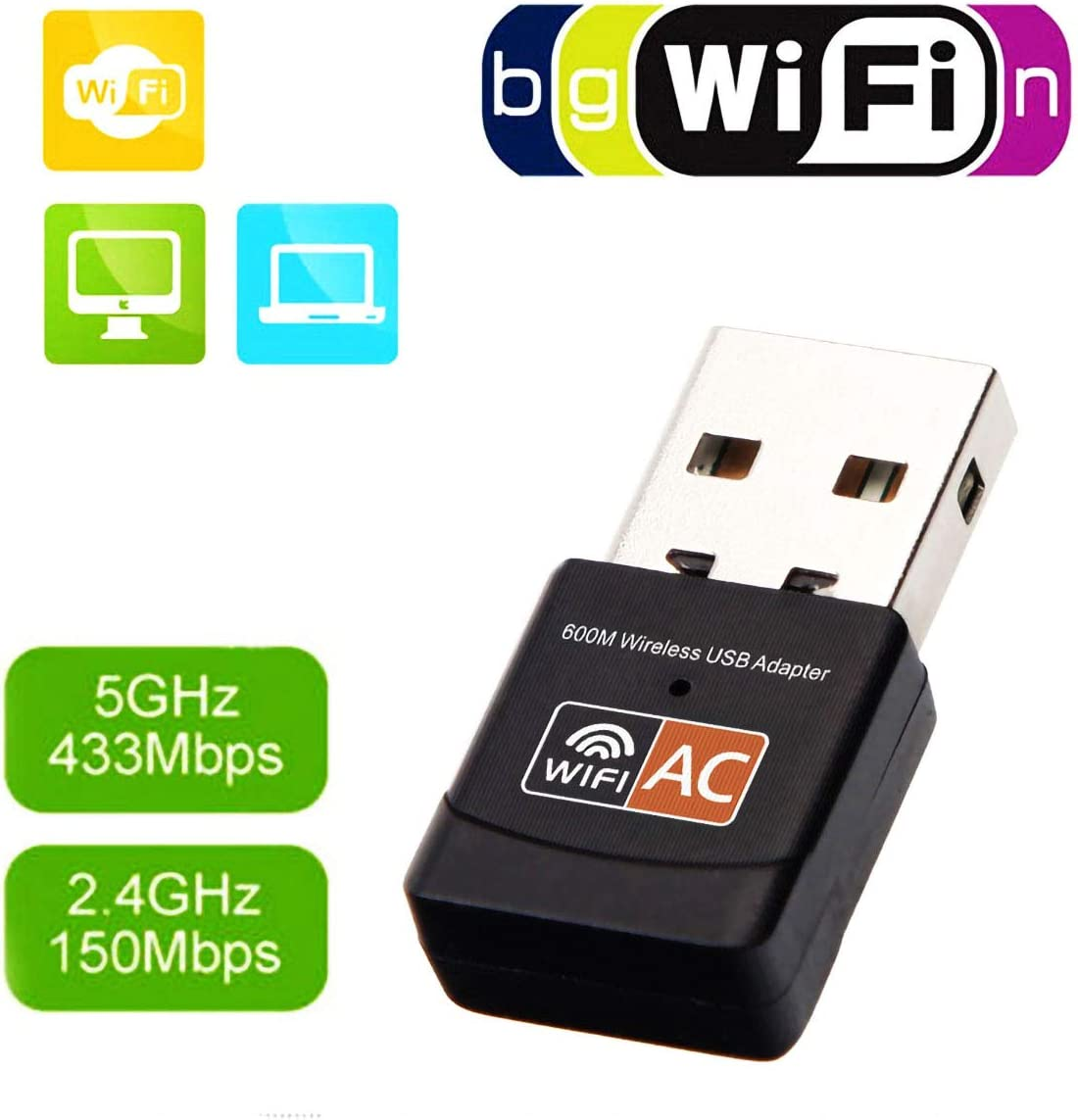 LJ2 Wi-Fi Dongle 600Mbps USB Wireless Adapter Dual Band 2.4Ghz//150Mbps 5Ghz//433Mbps//Compatible with Windows Vista//XP//2000//7//8//10//Linux//MAC OS