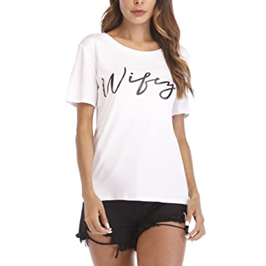 Haola Women's Letter Printed Wifey Tops Casual Plus Size Short Sleeve T Shirts