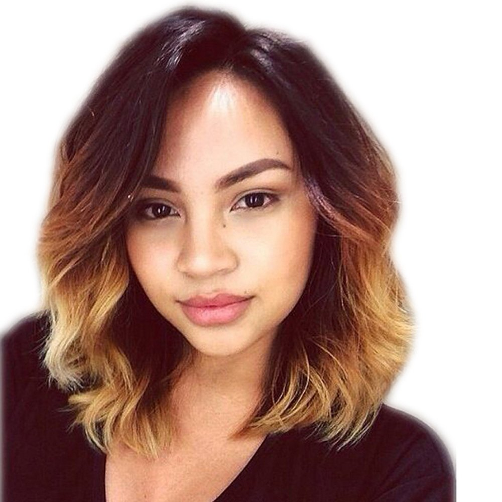 TopFeeling Short Human Hair Wigs for Black Women Ombre Human Hair Bob Wig Blonde Body Wave Wig With Baby Hair