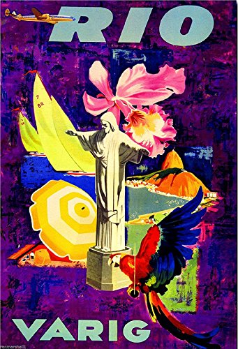 Rio de Janeiro Brazil South America Vintage Travel Art Poster Advertisement
