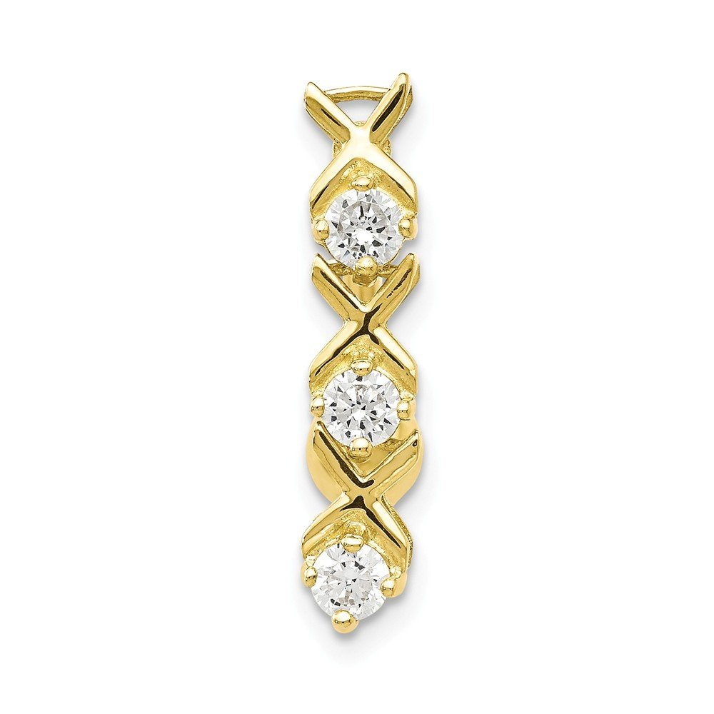 10k Yellow Gold Polished Open back Screw back With Cubic Zirconia Xoxo Belly Ring Dangle by JewelryWeb