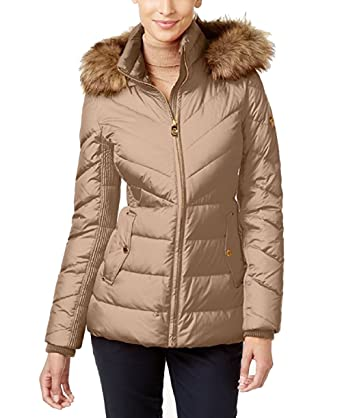 Michael Kors Faux Fur Trim Chevron Quilted Down Coat At Amazon