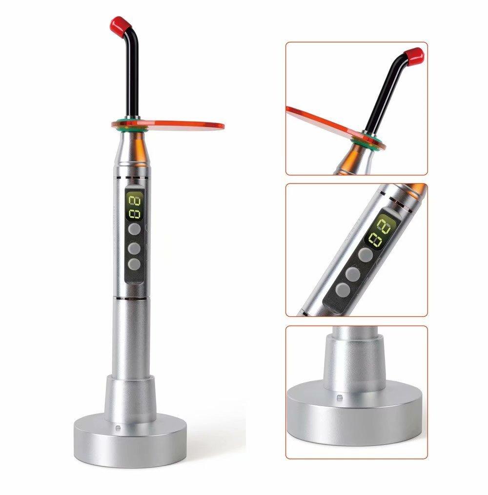 SoHome Wireless LED Light Bulbs Aluminum Alloy Handle Cure Light Lamp with Fiber Optic Light Guide Silver