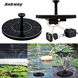 Ankway Solar Bird bath Fountain Pump for Garden and Patio, Free Standing 1.4W Solar Panel Kit Water Pump, Outdoor Watering Submersible Pump (Birdbath & Stand Not Included)