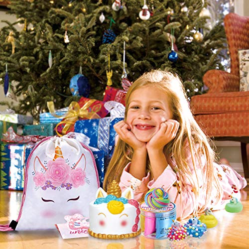 LittleBoo Unicorn Gift Set - Unicorn Squishy, Unicorn Slime, Unicorn Drawstring Backpack, Unicorn Card - Unicorn Gifts for Girls (Cream Cake Unicorn Squishy) by LittleBoo (Image #1)