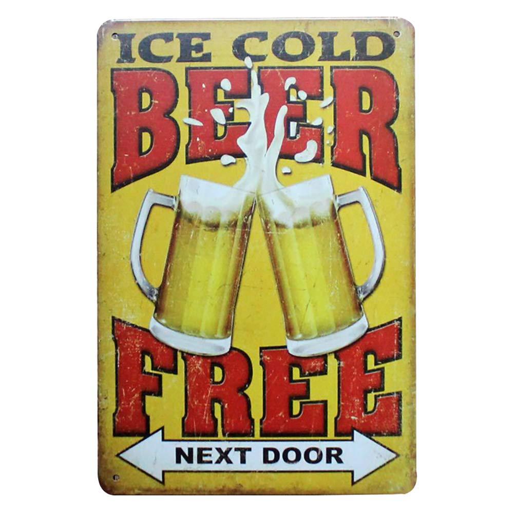 CAOLATOR birra lamiera segnaletica vintage –  Ice Cold Beer Free, 20 x 30 cm in metallo Retro –  Decorazione da parete semplice ferro pittura Cartelli per bar café  club kueche  casa