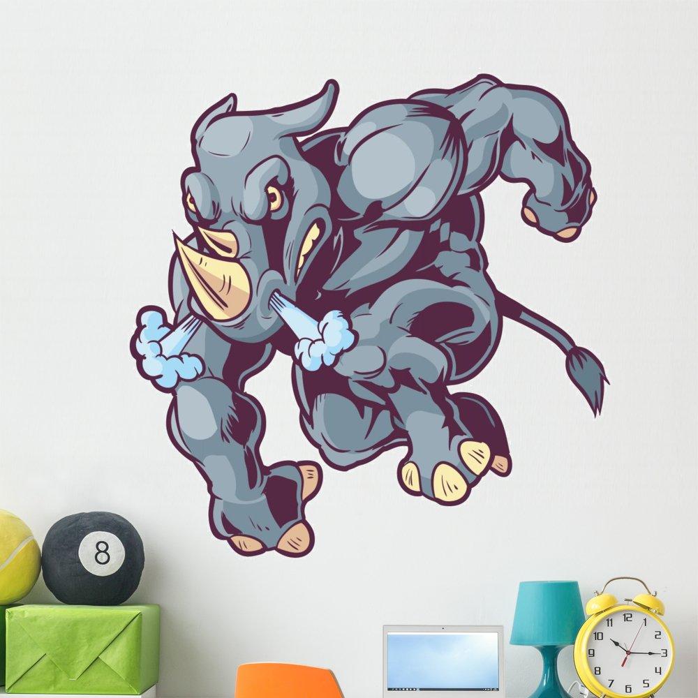 Wallmonkeys FOT-81693651-48 WM362815 Charging Vector Mascot Cartoon Rhino Left Peel and Stick Wall Decals H x 48 in W, 48'' 48'' W-Extra Large by Wallmonkeys