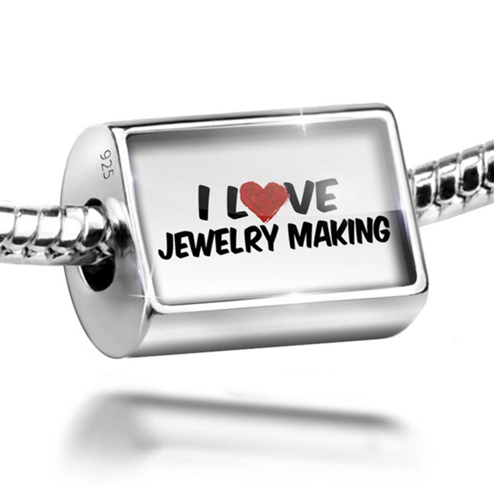 Sterling Silver Charm I Love Jewelry making - Bead Fit All European Bracelets ,