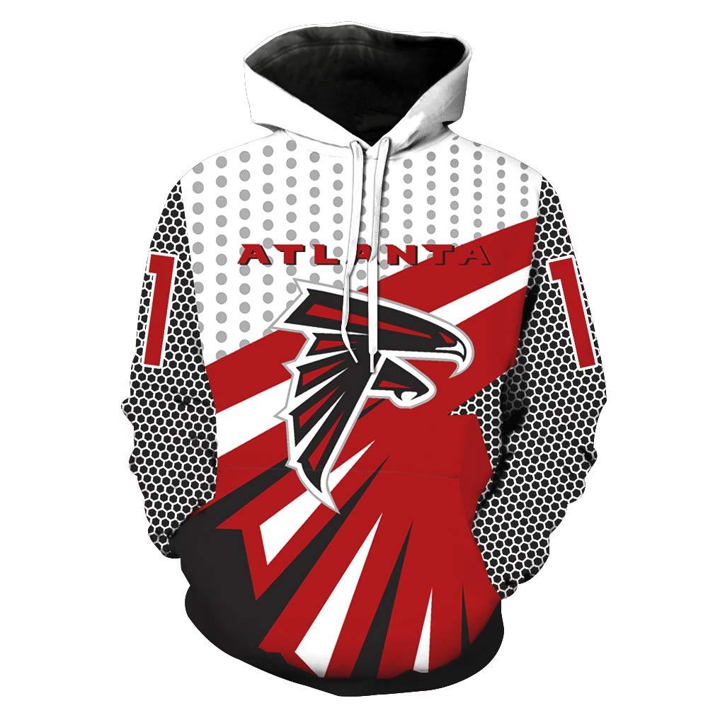 Mens Hooded Long Sleeve 3D Digital Print Atlanta Falcons Football Team Sports Pullover Hoodies