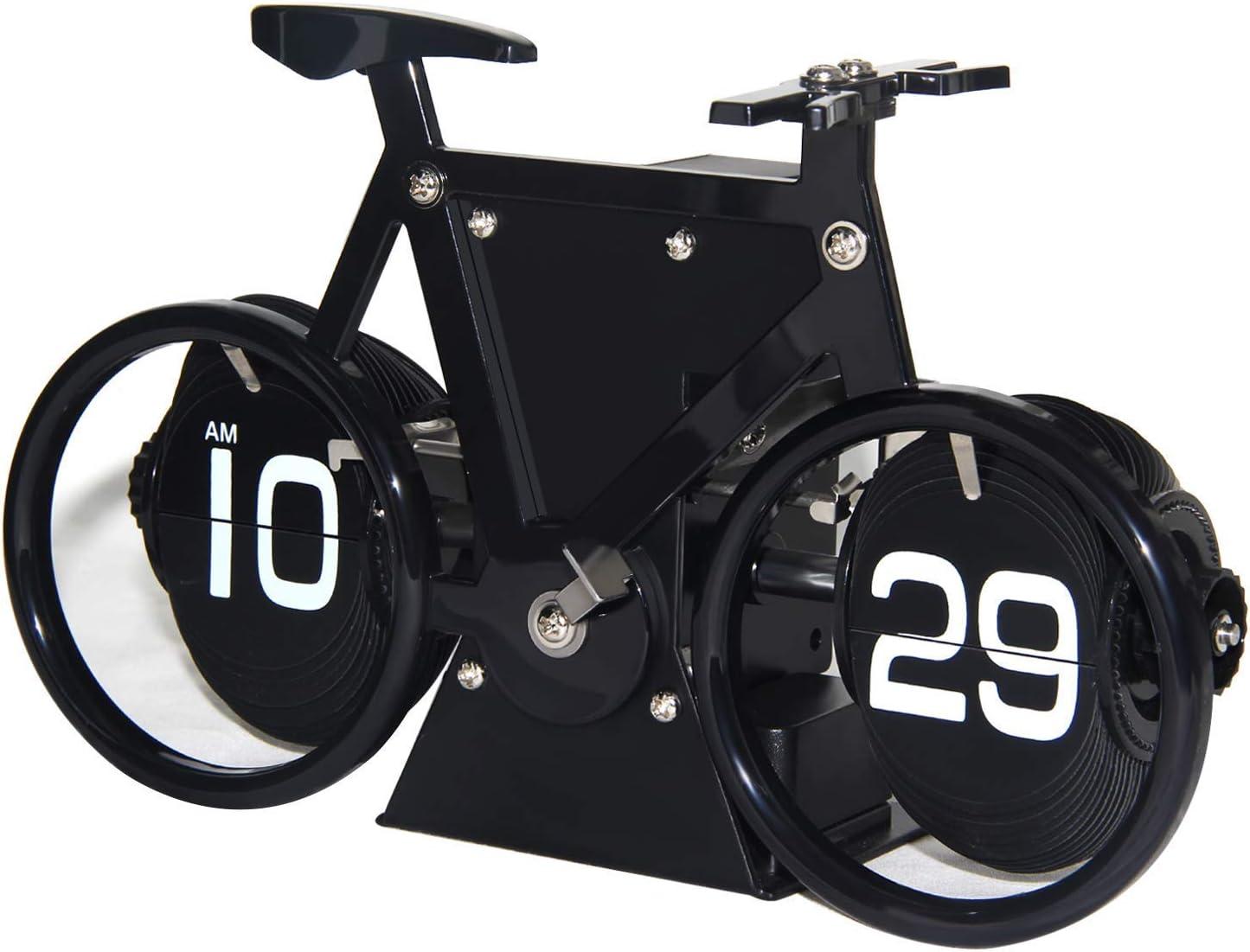 Black Mechanical Flip Down Desk Clock Bicycle Vintage Decor Desktop Clocks Battery Operated for Living Room Table Office Shelf