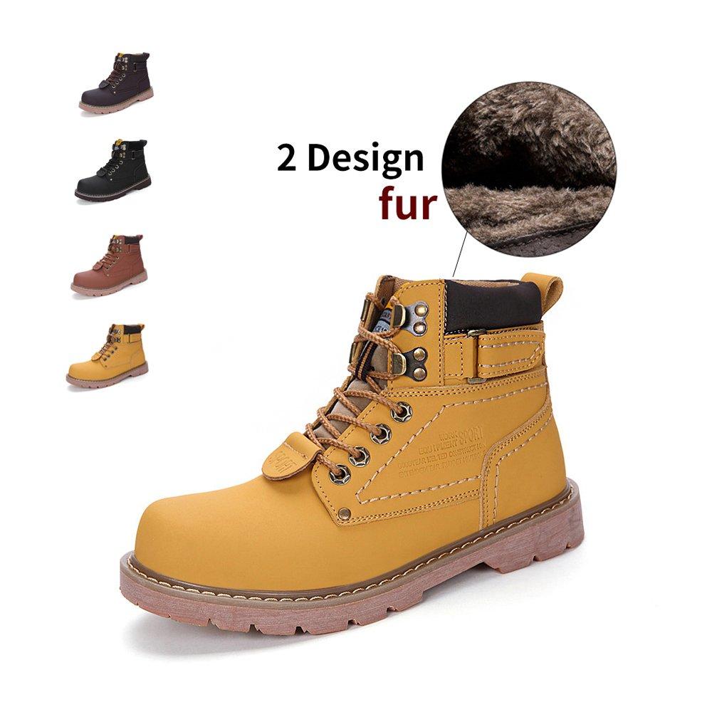 ENLEN&BENNA Women\Men's Work Boots Safety Boots Composite Toe Cap Waterproof Tan Casual Motorcycle Boot Lightweight B07F7BGVZ3 8 D(M) US|Yellow-fur