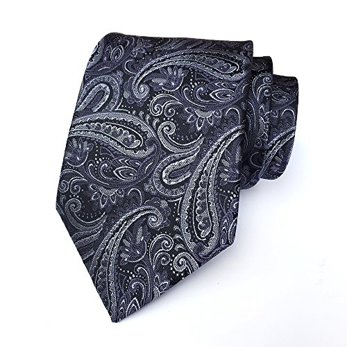 Navy Blue Gray Pinstripe (Secdtie Men's Silver Black Jacquard Woven Silk Tie Business Formal Necktie YUE02)